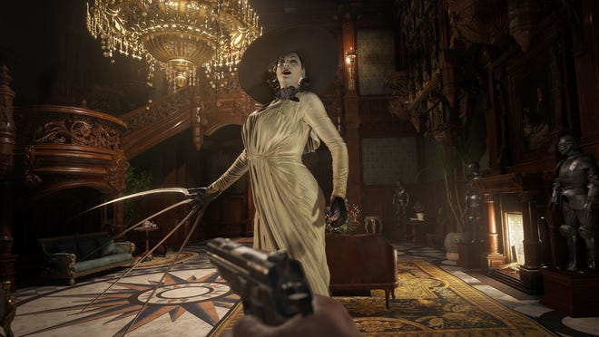 Lady Dimitrescu appears in 'Resident Evil Village.'