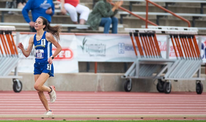 Nazareth High School Emma Kleman runs toward the finish line to finish the race in first place as she competes in the conference 1A 3,200 meter run during the UIL State track and field meet Saturday, May 8, 2021, in Austin, Texas.