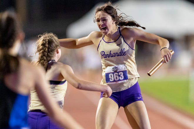 Panhandle's Macklynn Land celebrates winning the Class 2A girls 1,600-meter relay during the UIL state track and field meet Friday at Mike A. Myers Stadium in Austin.