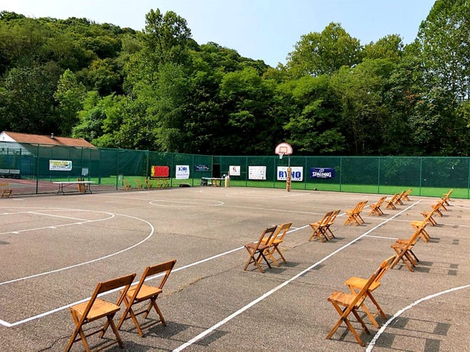 Socially distant seating arrangements at the outdoor basketball courts at Brady's Run Park last fall for the first season of the CJ2K League.