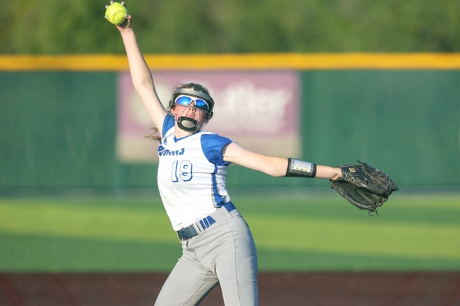 Andover's Tess Eubank throws a pitch in Game 1 against Campus on Friday, May 7 at Andover High School. Andover won Game 1, 8-4 over the Colts.