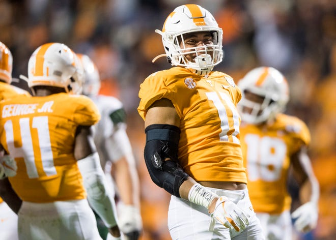 Tennessee linebacker Henry To'o To'o (11) smiles after making a play during a football game between Tennessee and UAB at Neyland Stadium on Saturday, November 2, 2019.