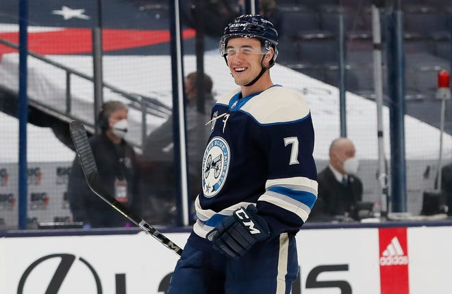 Defenseman Gavin Bayreuther played nine games with the Blue Jackets and 14 games with the Cleveland Monsters in the American Hockey League last season.