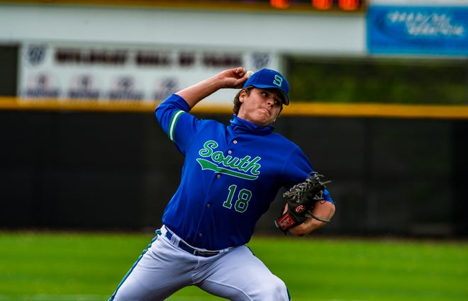 Blue Springs South pitcher Braden Jurgensmeyer throws to a Blue Springs batter in Friday's game. Jurgensmeyer came on in relief in the first inning and shut down the Wildcats, allowing just one hit, two walks and one run in six innings to help the Jaguars to a 10-3 victory.