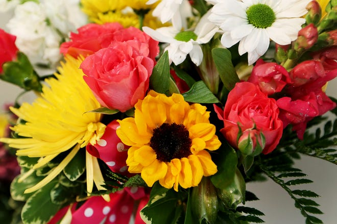 A colorful bouquet of flowers for Mother's Day is ready for customers at the flower and gift shop, LuvBlossoms, in Buhler.