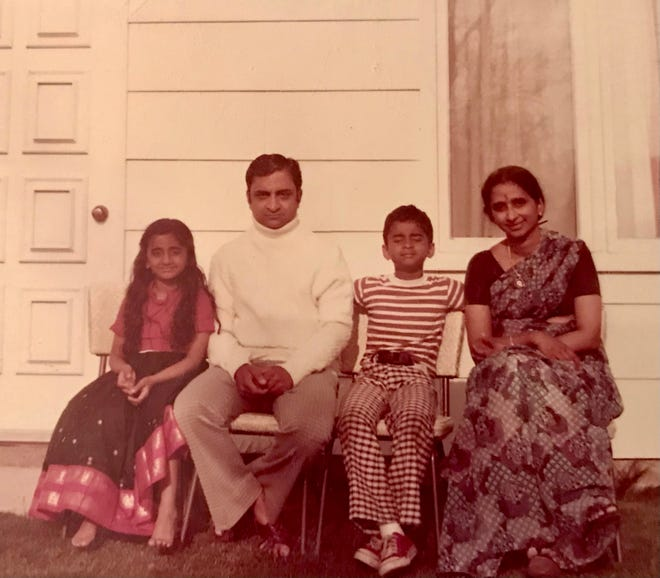 Chitra, Krishna, Kartik and Uma Kalyan-Raman in 1975, shortly before the family's move to Peoria.