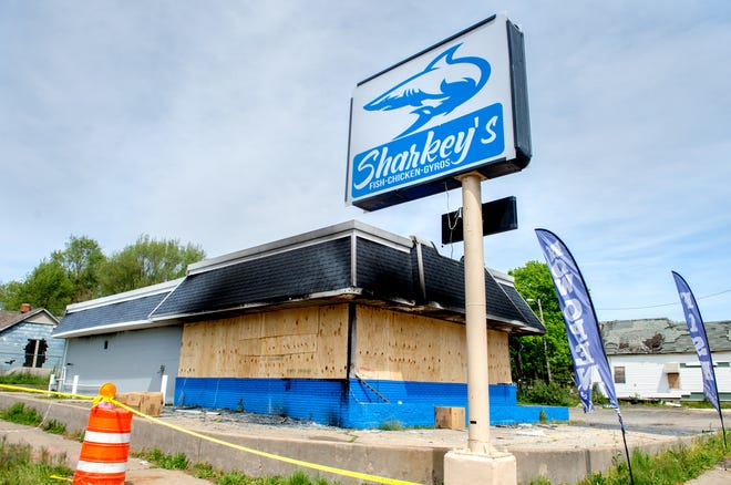 An explosion and fire after midnight Saturday, May 8, 2021 gutted Sharkey's restaurant, 913 South Western Avenue, in Peoria.