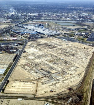 This Journal Star file photo from Jan. 14, 2004, shows an aerial view of the former Caterpillar factory site that eventually became the Levee District retail center in East Peoria.