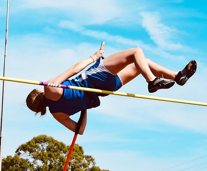 Pitkin standout Abby Robinson clears the bar during a meet earlier this season. On Thursday, Robinson finished fourth in the pole vault at the Class B state track and field championships in Baton Rouge.