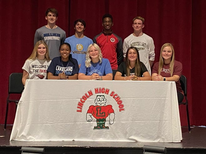 Students signed letters of intent to play at the college level Friday at Lincoln Community High School. From left in front are: Karissa Bowman, Elisa Dawson, Kate Miller, Sesleigh Peacock and Alyvia Gannon. In back from left: Landon Hullinger, Austin O'Donoghue, Jalen Franz and Dylan Singleton.