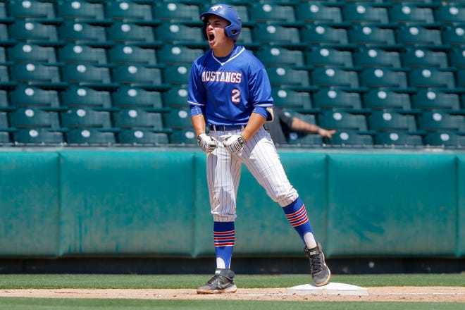Fort Cobb-Broxton star and OU commit Jaxon Willits celebrates after Fort Cobb-Broxton scored a run during the Class A spring baseball state championship game against Wister at Chickasaw Bricktown Ballpark on May 8.