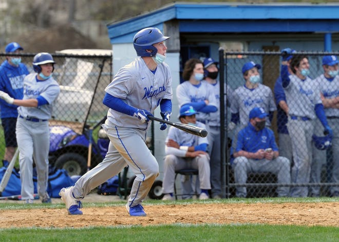 Braintree's Pat Gurley watches the flight of his hit during high school baseball against Weymouth at Braintree High School, Friday, May 7, 2021.