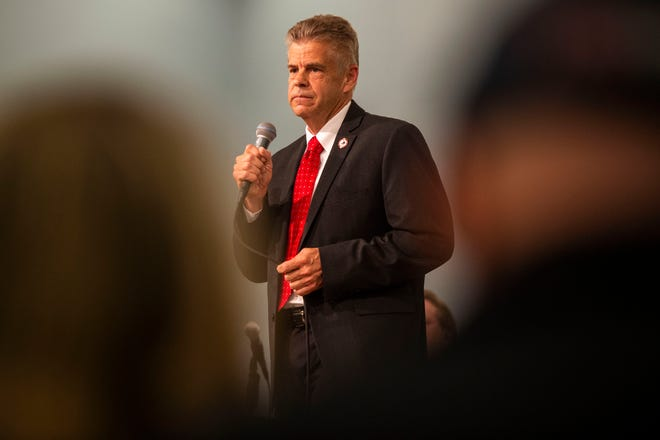 """File-This April 19, 2021, file photo shows U.S. Rep. Kirk Cox, R-Va., responding to a question during a GOP gubernatorial candidate forum hosted by the College Republicans at Liberty University at Thomas Road Baptist Church in Lynchburg, Va. Tens of thousands of Virginians are casting ballots to choose nominees for governor and other statewide offices. The Republican Party is holding what it's calling an """"unassembled convention"""" on Saturday, May 8, 2021, to select its nominees in this year's race for governor, lieutenant governor, and attorney general. Republicans haven't won a statewide race in Virginia since 2009. (Kendall Warner/The New & Advance via APFile)"""