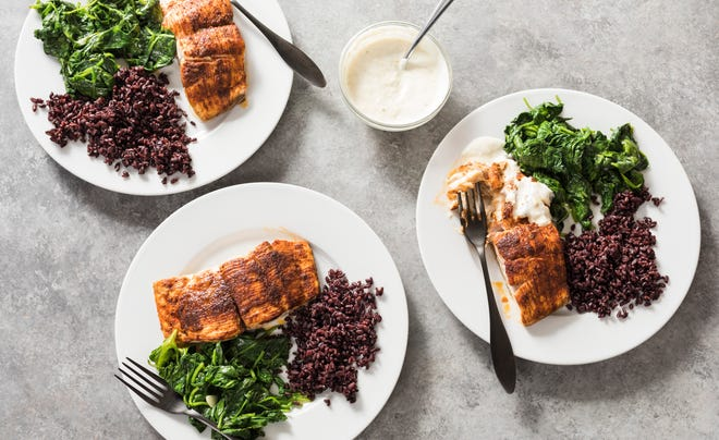 Blackened Red Snapper with Sautéed Spinach and Black Rice is a dish that can be changed with change of fish.