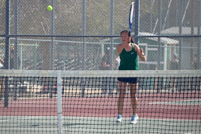 Hannah Ostermann was voted the Mojave River League Girls Tennis Player of the Year. After winning player of the year, Ostermann won the MRL League Singles Championship Wednesday. In this photo, Ostermann returns the serve of a Diamondback during the Lady Burros' first home game of the season.