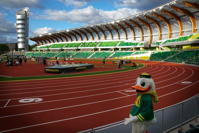 The Oregon Duck makes an appearance at the Oregon Twilight Track and Field Meet at Hayward Field in Eugene, Oregon