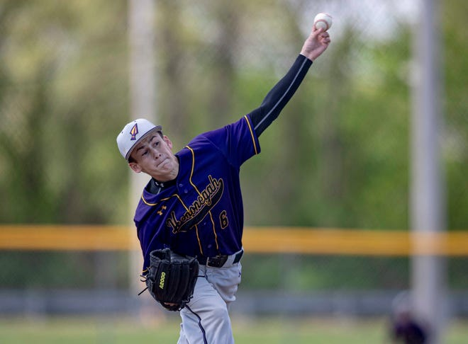 Hononegah's Ryan Anderson, shown shutting out Guilford on two hits earlier this year, will start the Class 4A state baseball semifinal game against Plainfield East on Saturday in Joliet.
