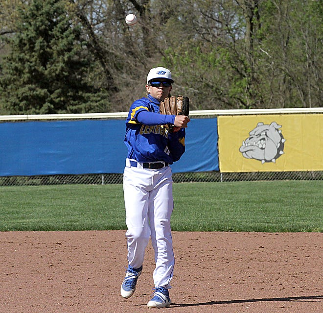 Centreville second baseman Brady Miller fires over to first base to record an out on Friday afternoon.