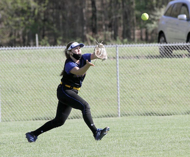 Centreville centerfielder Faith Edwards makes a running catch for an out against Niles-Brandywine.