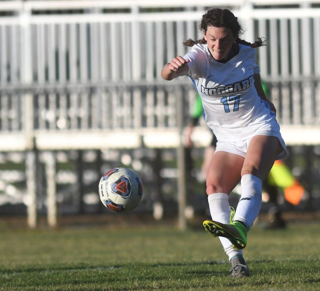 Hoggard's Ella Johnson, here in the quarterfinals against Laney, had two goals against Pinecrest in Tuesday's state semifinals.