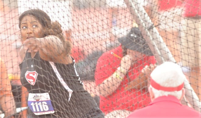 Strawn senior Bella Mahone competes in the Class 1A girls discus at the state track and field meet Saturday in Austin. She won the event by nearly 25 feet.