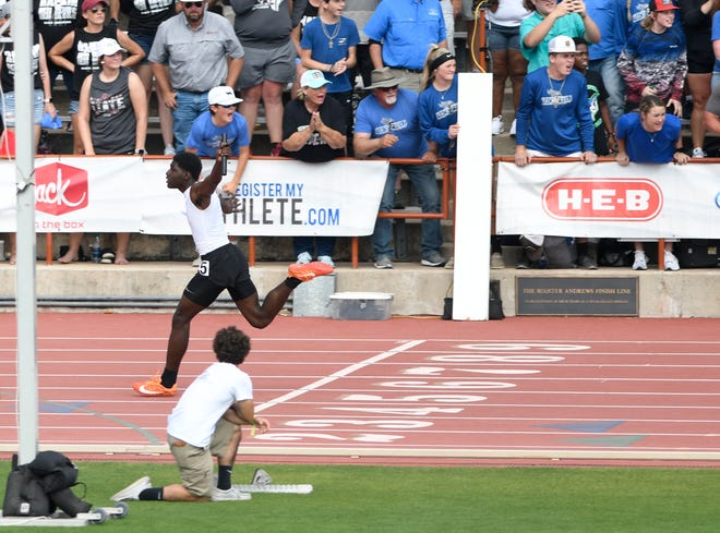 Paducah's Mark Flemons crosses the finish line during the Class 1A boys 400-meter relay during the UIL track and field state championships Saturday at Mike A. Myers Stadium in Austin. Their time was 42.99.