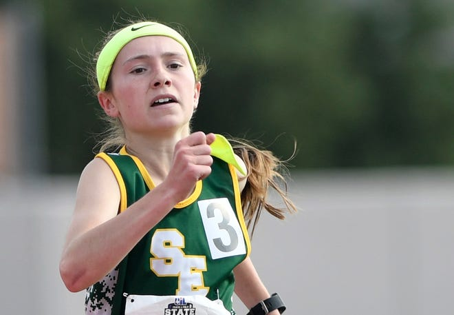 Springlake-Earth's Taytum Goodman competes in the Class 1A 800-meter run during the UIL Track and Field State Championships on Saturday in Austin. Goodman placed first, one of two wins on the night.