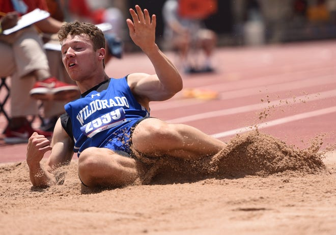 Wildorado's Dustin Bryant competes in the Class 1A triple jump during the UIL track and field state championships Saturday at Mike A. Myers Stadium in Austin. Bryant finished first with a leap of 21-feet, 7.50 inches.