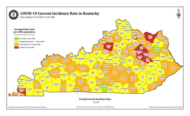 The COVID-19 current incidence rate map for Kentucky as of Friday, May 7.