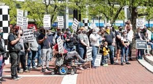 Approximately 50 people attended a Black Lives Matter protest on Saturday, May 8, 2021, on Monument Circle in downtown Indianapolis.
