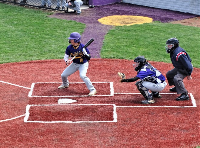 Bloom-Carroll's Ayden Anderson prepares to lay down a bunt in the first inning of the Bulldogs' 5-4 non-conference win over DeSales on Saturday.