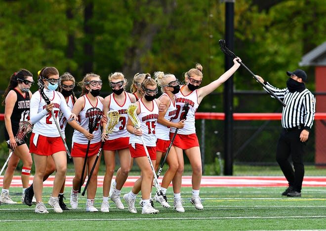 Susquehannock celebrates a goal during girls' lacrosse action against South Western at Susquehannock High School in Shrewsbury Township, Saturday, May 8, 2021. Susquehannock would win the game 9-8. Dawn J. Sagert photo