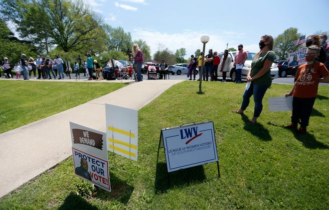Several dozen people attended a local voting rights rally at Brentwood Christian Church on May 8, 2021. The League of Women Voters of Southwest Missouri and the Community Partnership of the Ozarks are holding a public event Tuesday for residents to submit input on Missouri's new district maps.