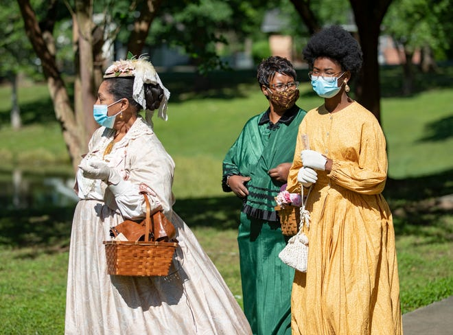 """As part of Tallahassee's """"Season of Emancipation,"""" historical reenactors engaged in activities of the era that recall the reading of the Emancipation Proclamation on the steps of the Knott House in May of 1865."""