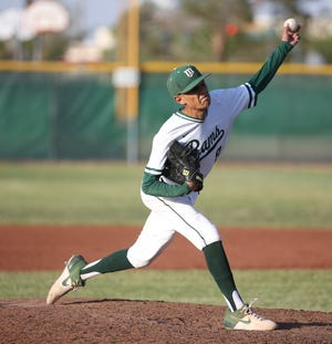 Jesus Tovar of Montwood High School pitches against San Angelo Central High School during a playoff game earlier this year.