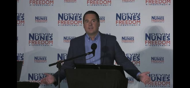 """Devin Nunes' speaks at the """"Freedom Fest"""" at the International Agri-Center on Saturday."""