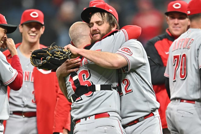 May 7: Cincinnati starting pitcher Wade Miley embraces catcher Tucker Barnhart (16) after throwing a no-hitter against Cleveland in the Reds' 3-0 win.