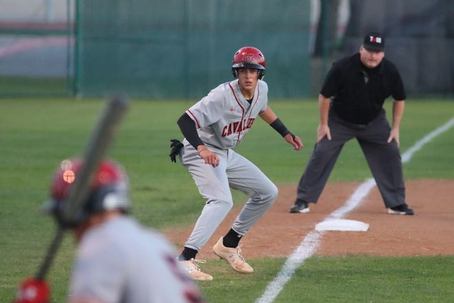 Kaeden Kent looks to score for Lake Travis during the first game of a Class 6A playoff series against Vista Ridge May 7 at Vista Ridge High School. Lake Travis swept the series to advance to the second round for the eighth consecutive postseason.