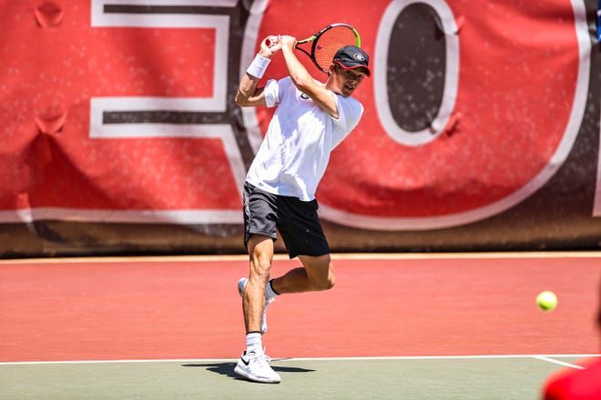 Georgia tennis player Tyler Zink during the second round of the 2021 NCAA men's tennis championships at the Dan Magill Tennis Complex in Athens on Sunday, May 9, 2021. (Photo by Tony Walsh)