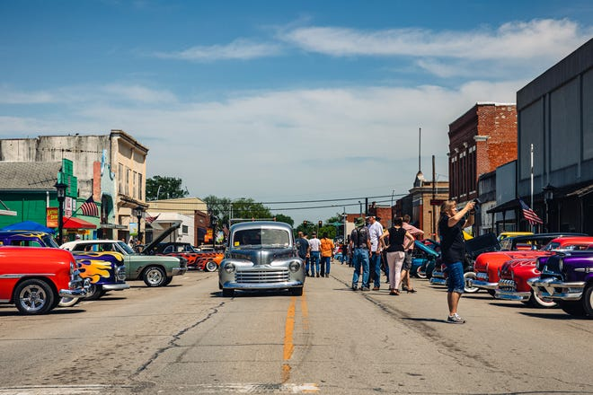 Hundreds of classic cars line the streets of downtown Dewey for the Stray Kat 500 car show on Saturday.