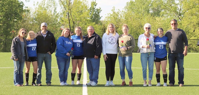 Four members of the Boonville Lady Pirates soccer team were recognized along with their parents during Senior Night on Thursday at the Boonville City Soccer Fields. The Lady Pirates fell to Sedalia Smith-Cotton by a score of 6-0.