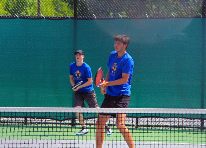 Drew Middleton (left) and Noah Allison (right) qualified for the Class 4A state tennis tournament on Saturday, May 8 at the El Dorado tennis regional in El Dorado, Kansas.