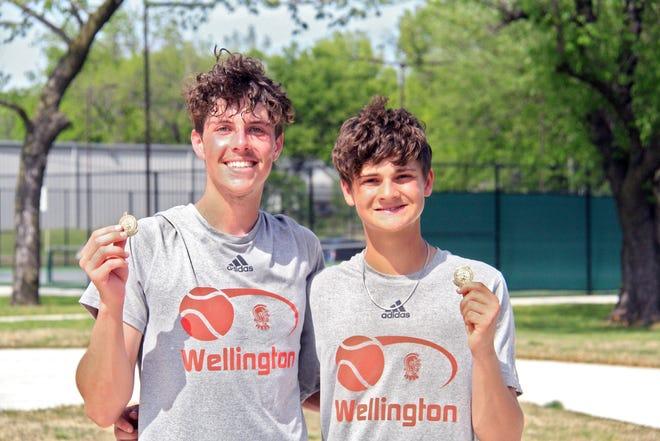 Wellington's double team, Kade Adams (left) and Carson Rademacher (right) won the doubles portion of the regional on Saturday in El Dorado, Kansas.