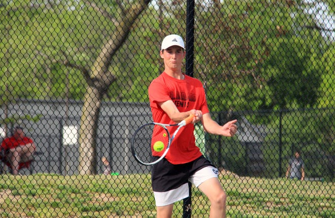 El Dorado's Hayden Greene returns a volley in Saturday's Class 4A Regional at North Main Park. The junior finished fourth place and will play in next week's state tournament in Topeka.