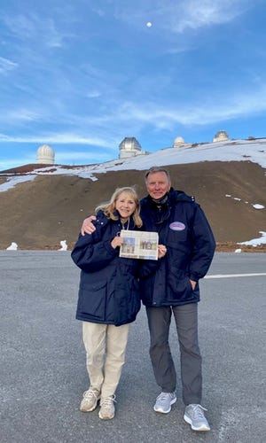 HAWAII Christine and Don Ginder of New Albany recently traveled to the Big Island of Hawaii. While there, they viewed a spectacular sunset from the summit of Mauna Kea (13,796 feet), home of one of the world's finest and most-coveted telescopes. Stargazing from the visitor center was informative and unforgettable, they say. Because it gets so cold on the mountain, they recommend taking your own tech soft-touch gloves to take photos with your phone. With these you won't have to remove the cotton gloves provided to take pictures and your hands can stay warm.