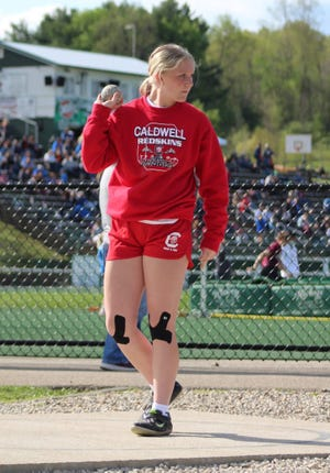 Caldwell eighth grader Gwyn Lori readies herself in the circle prior to a PR of 46-7 to win the shot put of the Larry McCullough Invitational on Thursday at Sarahsville. Lori, along with teammates Laurana Lashley and Ethan Crock will compete at the OHSAA 7th and 8th Grade State Championship Meet on Saturday at Hilliard.