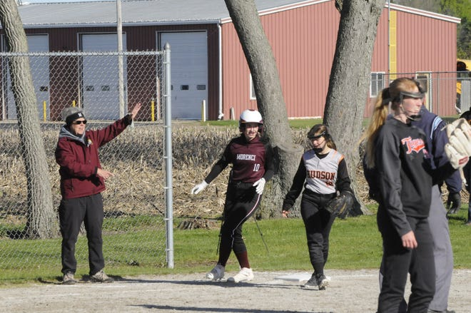 Morenci's Grace Ryan (10) retreats to third base during her team's victory over Hudson at Saturday's Sand Creek Invite.