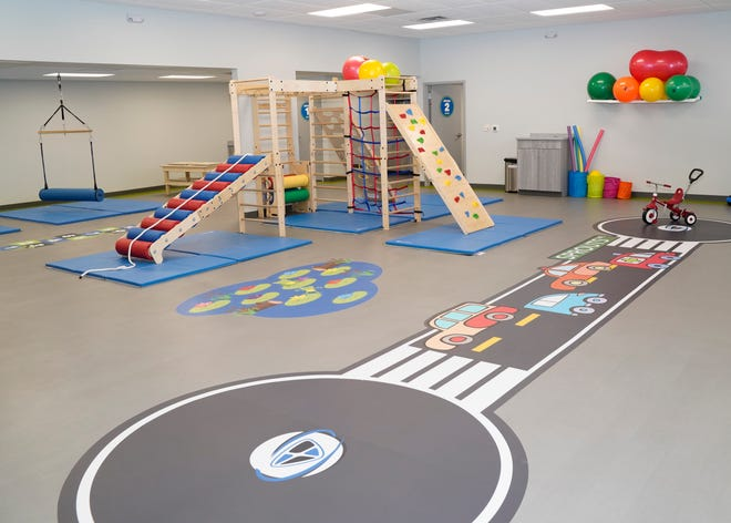 Play and physical therapy equipment are pictured at Sprouts, a 3D PT's new clinic in Adrian that offers physical, occupational and speech therapy to children.