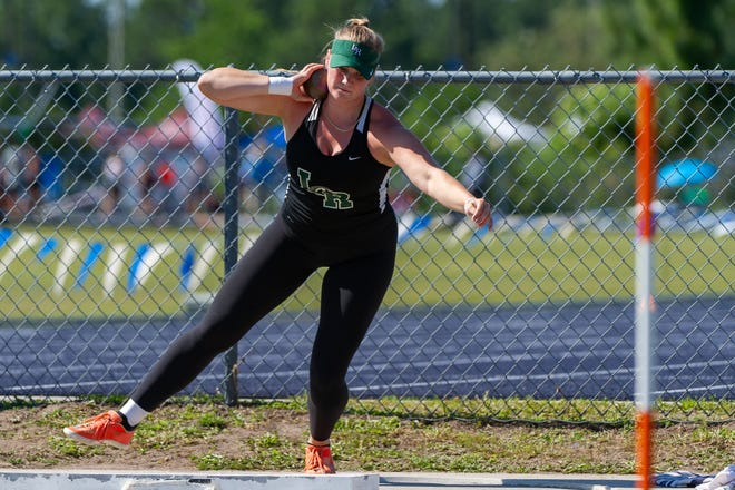 Lakewood Ranch High's Riley Simmons heaves the shot put in the girls state competition at the FHSSA track and field championships at UNF Hodges Stadium on May 8.