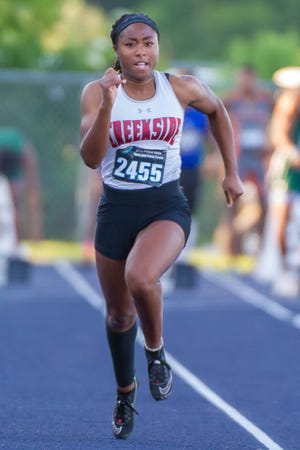Sydney Campbell of Creekside competes in the girls 100 meter dash at the FHSAA track finals on May 8.